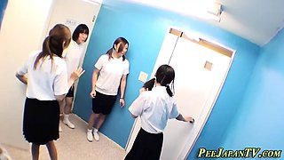 Teens peeing in toilet