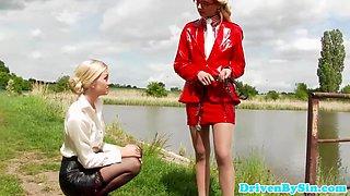 Funny european femdom Cayla Lyons footjob fun