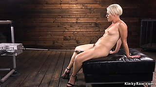Stunning blonde milf riding machine