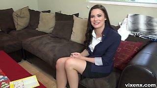 Caucasian future employee Kymberlee Anne undergoes kinky interview at home