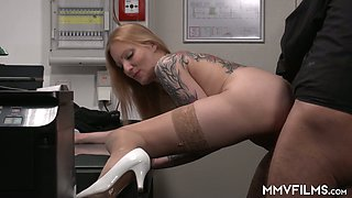 Young beautiful secretary Kitty Blair is fucked by her kinky boss