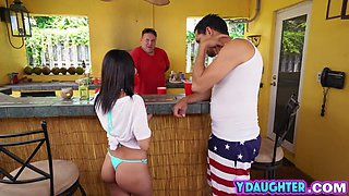 A super hot babe gets scored by her dads friend outdoors on the pool