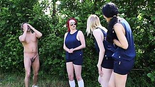 British CFNM babes jerking dick outdoors
