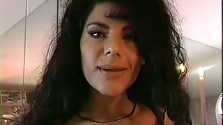 Sensational and sultry raunchy brunette milf in black lingerie