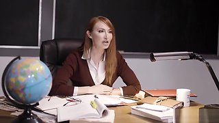 Horny teacher demands lesbian sex from her student and her mom