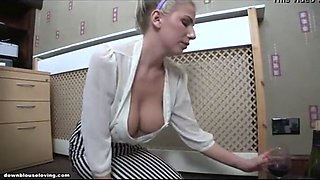 Drunken drinking downblouse