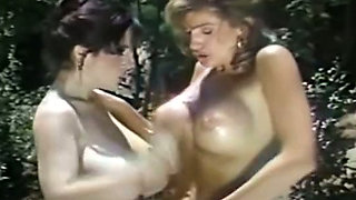 Busty and fine classic hot ladies by the pool get into each other