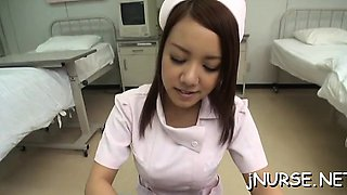 Hawt butt nurse amazes with her asian oral-job and nudity