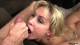 Tattooed slut Ryan Conner cannot wait to ride a massive dong