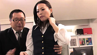 Sexy secretary gives her boss a smoking hot bj and footjob