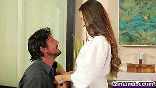 sensual babe cassidy klein rides client's dick after giving him nuru massage