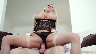 Stunning blonde in sexy lingerie Michelle Thorne enjoys having passionate sex