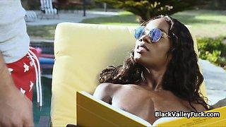 Assy black bikini babe cocked by white meat