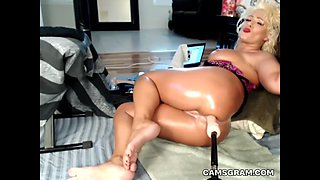 attractive busty milf uses fucking machines to pleasure herself in total self pleasuring