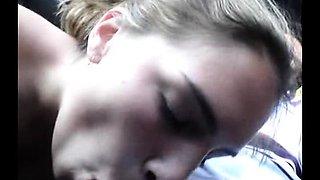 Delightful amateur teen blows her boyfriend in the car
