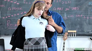 Petite pale schoolgirl gets bonked by a horny professor