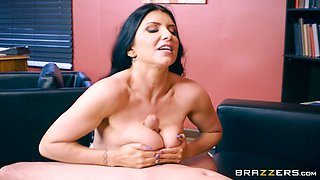 Sexy business woman Romi Rain is in need of a stiff cock