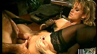 Blonde MILF in stockings pounded after getting her face fucked