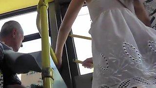 Upskirt White Dress Sexy Tight Thong