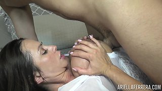 Luscious Ariella Ferrera was so happy to feel a massive dick