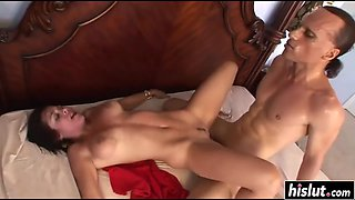 beautiful busty babe gets dominated during sex