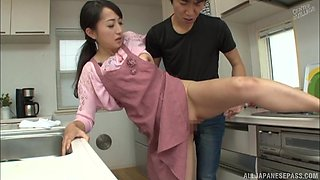 Takita Eriko is a horny housewife fucked doggystyle in a kitchen