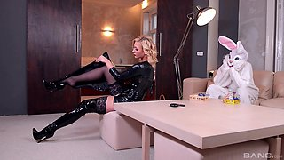 MILF blonde in high heels Kayla Green rides a costumed guys cock