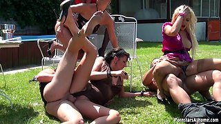 Pool attendants feast on their horny female clients hardcore in a reality shoot