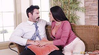 big breasted latina milf sucks cock under the desk