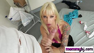 Hot tattooed mom takes deep throating to an extreme with a massive cock