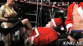 Mistress ties up her bondman and gives him a cook jerking