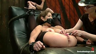 Extreme immobilization! Felony is at the mercy of two fierce Doms.