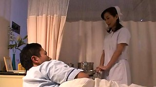 Dude gets a steaky footjob and his dick riden by sexy nurse