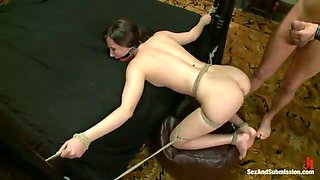 Tied up slave with hook in her butt hole is fucked in doggy pose
