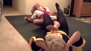 Queen of Tights vs Nikki Fierce pantyhose wrestling