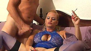 Big tits blonde smoking