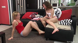 Two lovely lesbians like to play with big sex toys together