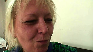 Girlfriend's old mother swallows his cheating cock