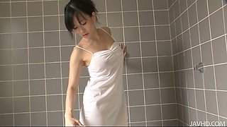 hot milf manami komukai gobbles cock in the shower