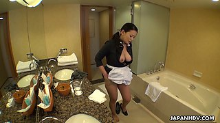 This Asian maid knows how to relieve stress at work and her boobies are superb