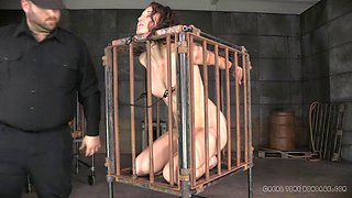 Caged slave pose while displaying her pussy seductively in BDSM