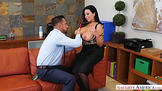 Huge breasted tanned secretary Sheridan Love gives a really good BJ