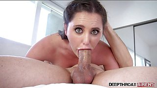 Brunette Hope Howell deepthroating and swallowing cum