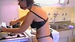 Amazing amateur BDSM, Kitchen sex video