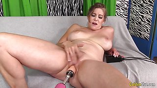 Kinky Granny loves machine pounding her pussy