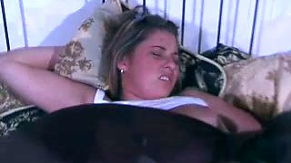Busty and hot white teen babe on the bed is an easy seduction