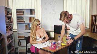 Busty teacher Carla Pryce cannot resist a hunk's fat boner