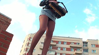 This slut knows how to give the best upskirt view and she loves her pantyhose