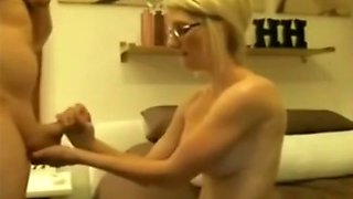 Cum-addicted bimbo in glasses gets brutally fucked from behind