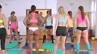 Fitness coach bangs young beautiful babes